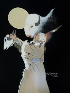 *Doc Tate Nevaquaya* Comanche by Rance Hood Native American Images, Native American Artwork, Native American Artists, American Indian Art, Native American Indians, Eskimo, West Art, Feather Painting, Indian Paintings