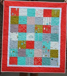 1 Charm Pack Baby Quilt.  Designed and made by Leisha Farnsworth.