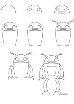 stappenplan robot tekenen - Google zoeken
