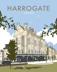 size: Giclee Print: Harrogate - Dave Thompson Contemporary Travel Print by Dave Thompson : This exceptional art print was made using a sophisticated giclée printing process, which deliver pure, rich color and remarkable detail. Posters Uk, Railway Posters, Modern Posters, Retro Posters, Vintage Travel Posters, Poster Vintage, Tourism Poster, Paris Travel, Travel Ads