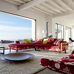 Open Space Living Room In Beach House With Spring Sofa Style Covered With Colorful Red Fabric Cool spring living room decorating ideas in living room living room