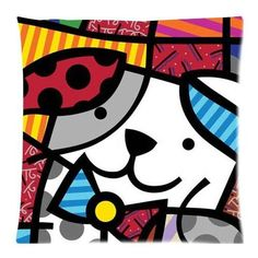 Romero Britto Style Square Zippered Cushion Cover Throw Pillowcase Soft Comfort Pillow