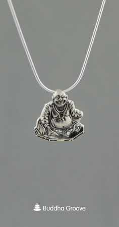 Artistic detailed pendant is a way to bring Happy Buddha everywhere. Made of sterling silver. Buddha Jewelry, Yoga Jewelry, Glass Jewelry, Sterling Silver Chains, Sterling Silver Pendants, Giraffe Jewelry, Jewels, Jewellery Shops, Silver Jewellery