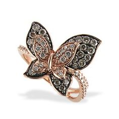 Le Vian Rose Gold Butterfly Ring with Chocolate and White Diamonds #jewelry #levian