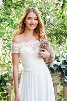 Sweetheart Gowns - Style 11059: Off the Shoulder Lace Bodice A-line Chiffon Gown Anne Barge Wedding Dresses, Lace Wedding Dress, Wedding Dress Trends, Pleated Bodice, Lace Bodice, Justin Alexander, Sweetheart Wedding Dress, A Line Gown, Chiffon Skirt
