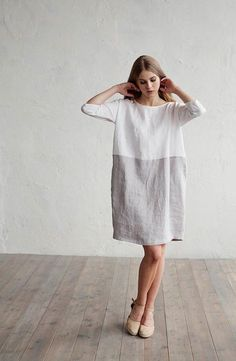 Linen dress 66$. Soft white and gray linen dress for women in colour block. Designed loose fit, cocoon shape. 3/4 sleeves, knee length, two side pockets.