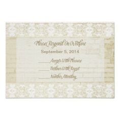 Burlap, Lace and Rustic Brick RSVP Wedding Personalized Invitations