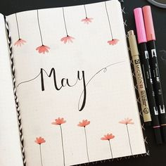 May - bujo inspiration - bullet journal ideas - month cover - pink tombow - pigm. May - bujo inspiration - bullet journal ideas - month cover - pink tombow - pigma micron - handlettering - doodle - drawing - spring - flowers - quotes Journal Bullet Journal August, Bullet Journal Inspo, Bullet Journal Cover Ideas, Bullet Journal Notebook, Bullet Journal Aesthetic, Bullet Journal Layout, Bullet Journal Ideas Pages, Bullet Journal Quotes, Journal Covers