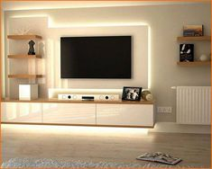 20 Good Ideas to Make Modern TV Unit Decor in Your Home tvunit decor ho Tv Unit Decor, Tv Wall Decor, Wall Tv, Tv Cabinet Design, Tv Wall Design, Painel Tv Sala Grande, Tv Wanddekor, Tv Unit Furniture Design, Bedroom Tv Wall