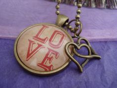 Holiday Gift or Stocking Stuffer!!! Vintage Love Glass Pendant Necklace with by TJsTreasureChest, $10.99