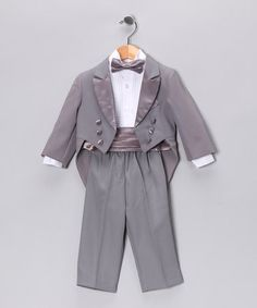 Take a look at this Lida Gray Cummerbund Tux Set - Infant, Toddler & Boys by Holiday Shine: Kids' Apparel on #zulily today!