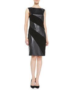 Vakko Sleeveless Leather-Stripe Dress