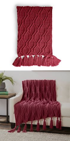 Photos © Yarnspirations Design Studio Amazing blanket made in a wonderful color. The blanket has an amazing texture. It has been made with the cable stitch. It is fashionable and very elegant. Crochet Cable, Free Crochet, Crochet Throws, Make Your Own Blanket, Yarn Color Combinations, Crochet Blanket Patterns, Crochet Afghans, Ravelry Crochet, Blanket Yarn