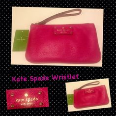 Kate Spade New York Wristlet. ❤Kate Spade Wristlet ❤                                Photo enhance to show color...Will fit IPhone 6 & 6 plus... - Fuschia soft genuine leather - Multi-blue nylon on the inside - Zipper closure with pouches within - Golden hardware - (L) 8 x (H) 4.5 x (W) 1 inches kate spade Bags Clutches & Wristlets