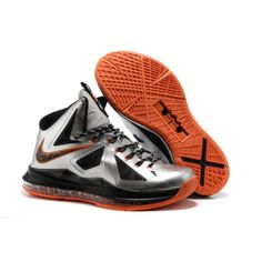 wholesale dealer 93de0 d8613 Buy Nike Lebron X 10 Silver Orange Basketball Shoes Store