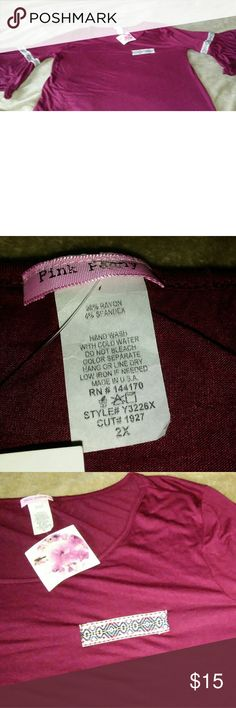 2x 3/4 sleeve maroon shirt Very soft material name brand pink penny made of 96% rayon and 4% spandex color of material is maroon best shown on pic with tag pink peony Tops