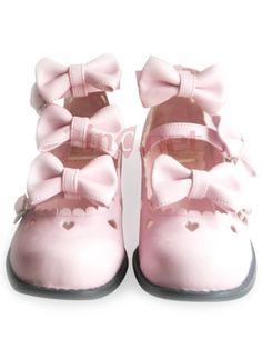 $92.55Flat Pink Straps Bow Scalloped PU #Lolita #S #Pumps