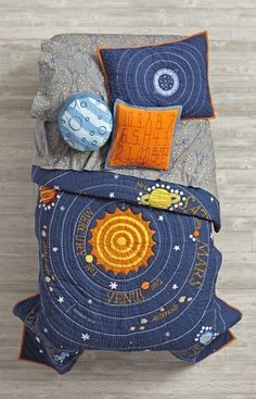 Shop Kids Blue Solar System Bedding. Our out-of-this-world Solar System quilt features eight official planets orbiting the sun. Reversible Pluto throw pillow and Blast-Off throw pillow.