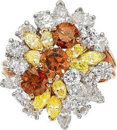 Colored Diamond, Diamond and Gold Ring, by Oscar Heyman Bros.