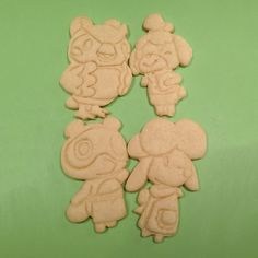 Tom Nook, Isabelle, Blathers, and Harriet from Animal Crossing New Leaf - as cookie cutters! Handmade 3D Printed with ABS Dishwasher safe Plastic cookie cutter