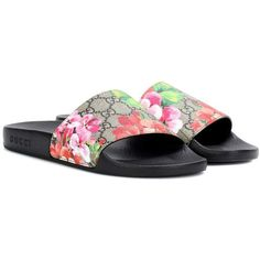 Gucci GG Blooms Supreme Slip-on Sandals (4.485 ARS) ❤ liked on Polyvore featuring shoes, sandals, multicoloured, slip on shoes, gucci footwear, multi color shoes, colorful shoes and multi color sandals