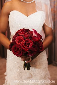 Classic Deep #RedRoses #Bouquets Real {Dallas} Wedding by The Amber Studio