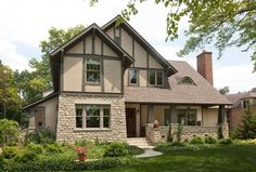 Decoration Appealing Home Design Ideas: Appealing Weathered Wood Home Interior Decor Craftsman Exterior Columbus Tudor Style Homes, Craftsman Style Homes, Craftsman Bungalows, Craftsman House Plans, Craftsman Windows, Tudor House, Tudor Cottage, Stucco Exterior, Craftsman Exterior