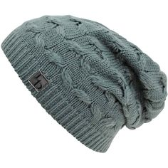 Gray Oversize Cable Knit Slouchy Beanie Cap Hat (51 PLN) ❤ liked on Polyvore featuring accessories, hats, grey, skull beanie, beanie skull cap, flat cap, slouch beanie hats, slouchy beanie and slouchy hat