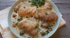 Roasted Chicken Thighs in Creamy Mushroom Sauce - Dinner with Deems Cream Of Mushroom Chicken, Creamy Mushroom Sauce, Creamy Mushrooms, Cream Of Chicken Soup, Stuffed Mushrooms, Ground Chicken Recipes, Chicken Recipes Video, Chicken Flavors, Baked Chicken Recipes