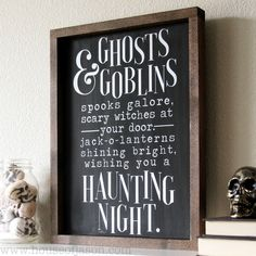 """Classic black + white Halloween sign, perfect for your Halloween decor this year! DIMENSIONS: 12"""" x 16"""" BACKGROUND PAINT COLOR: Black LETTERING PAINT COLOR: White HANDCRAFTED WOODEN FRAME READY TO HANG Only sign is available for purchase, staging props not included Please allow for 10 business days from time of purchase for your order to ship. Thank you! __________________________________________________________________________ + Please note: Each one of our signs here at House of Jason are hand Halloween Crafts To Sell, Halloween Wood Signs, Fall Wood Signs, Halloween Ghosts, Diy Halloween Decorations, Cute Halloween, Holidays Halloween, Fall Decor Signs, Fall Signs"""