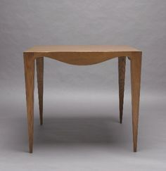 Jean Royère, Scalloped card table, Oak, c.1930, 36H x 31W inches