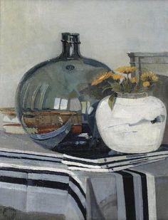 Dick Ket (Dutch, 1902-1940), Stilleven met boeken, zoutzuurfles, bloemen in gemberpot op gestreept tafelkleed [Still life with books,