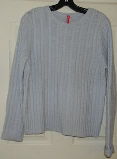 Hanna Andersson Woman Size Medium M  Light Blue Cable Knit Sweater  #HannaAndersson #Crewneck