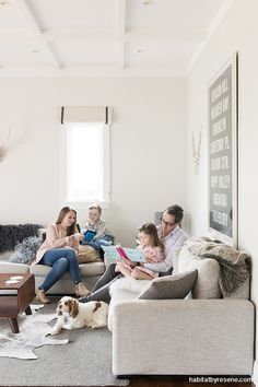 Harriet, Jamie and family enjoying their home, painted in Resene Merino. Photo by Helen Bankers/Cave. Neutral Color Scheme, Colour Schemes, Bungalow Dining Room, Resene Colours, Interior Paint Colors, Paint Colours, Bungalow Renovation, Architrave