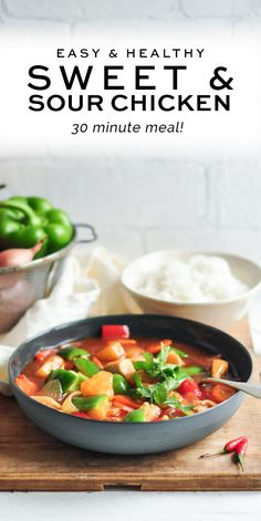 Get dinner on the table in 30 minutes with this Easy Sweet and Sour Chicken. A fresh and healthy version with less calories, but tastes amazing with a homemade sweet and sour sauce. No need for Chinese takeaway anymore! Healthy Chicken Recipes, Turkey Recipes, Asian Recipes, Healthy Food, Colby Jack, Easy Dinner Recipes, Easy Meals, Easy Recipes, Fast Dinners