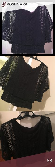 Black Lace Top Medium size black lace top. Great for work and also regular day activities. Minor wear. Not sure of the brand. Fits snug at the bottom Tops Blouses