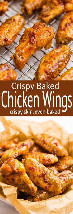 Crispy Baked Chicken Wings, Baked Chicken Recipes, Recipe Chicken, Oven Baked Wings, Healthy Chicken, Easy Baked Chicken Wings, Crispy Oven Chicken Wings, Recipes For Chicken Wings, Crispy Wings Recipe