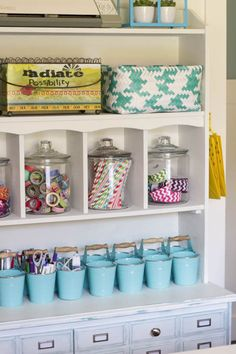 I love this colorful organized craft room makeover at thehappyhousie.com-12