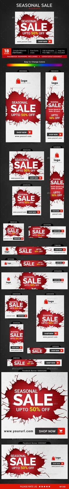 Seasonal Sale Web Banners Template PSD #design #ads Download: http://graphicriver.net/item/seasonal-sale-banners/13274689?ref=ksioks
