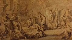 MYTHOLOGICAL SCENE. 1623. pen brown ink and grey wash on paper. 18,3 × 32,8 cm. Nicolas Poussin, Grey Wash, Baroque, Mythology, Roman, Scene, Ink, Paper, Painting