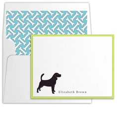 Two-Layer Correspondence Stationery With Die Cut Beagle by Luscious Verde Cards Wedding Invitation Design, Wedding Stationery, Elizabeth Brown, Personalized Stationery, Beagle, Cambridge Street, Paper, Handmade Gifts, Cards