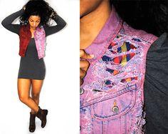 patchwork shredded denim vest