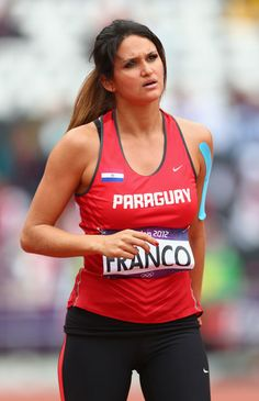 Leryn Franco of Paraguay competes in the Women's Javelin Throw Qualification on Day 11 of the London 2012 Olympic Games at Olympic Stadium on August 2012 in London, England. Leryn Franco, Sports Women, Nike Women, Javelin Throw, Weight Loss Before, Training Pants, Track And Field, Olympians, Olympic Games