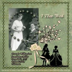 I Thee Wed...striking heritage wedding page with vintage couple silhouette. Love the circular studs on the photo.