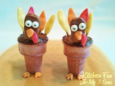 Thanksgiving Tootsie Turkey Cake Cones from KitchenFunWithMy3Sons.com