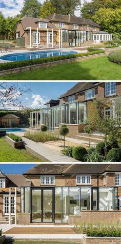 14 Examples Of British Houses With Contemporary Extensions // This large home got a bright extension that features a lot of windows to brighten up the interior and help make it feel more connected to what's going on outside.