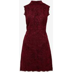 High neck lace dress ($220) ❤ liked on Polyvore featuring dresses, lacy dress, lace dress, ted baker dresses, red dress and lace cocktail dress