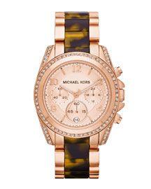 Michael Kors Mid-Size Rose Golden Stainless Steel Blair Chronograph Glitz Watch