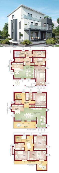Einfamilienhaus mit Einliegerwohnung und Pultdach - Zweifamilienhaus Grundriss Celebration 275 V4 Bien Zenker Fertighaus - HausbauDirekt.de