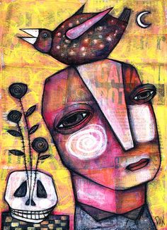 'Bird of Life' by Dan Casado Pablo Picasso, Portraits, Collage Artists, Outsider Art, Whimsical Art, Bird Art, Face Art, Medium Art, Altered Art